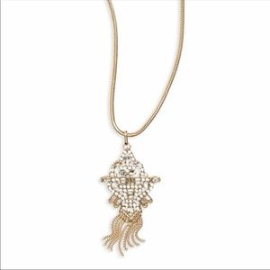🆕bp Gold Tone Crystal Pendant Necklace